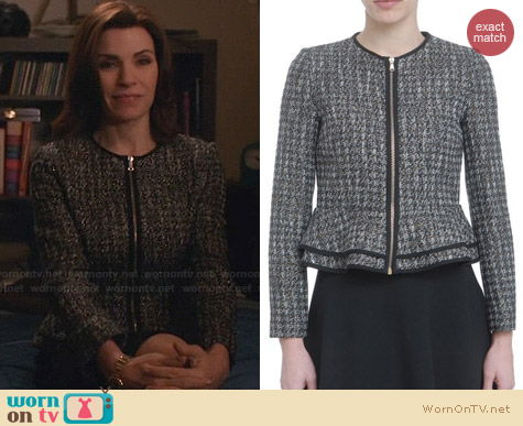 RED Valentino Lurex Oro Pied De Poule Jacket worn by Juliana Margulies on The Good Wife
