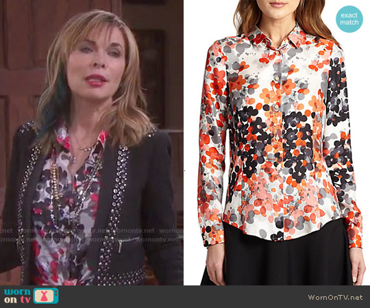RED Valentino Abstract Floral Blouse worn by Kate Roberts on Days of our Lives