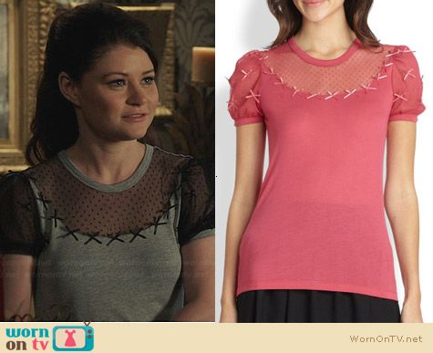 RED Valentino Bow Appliqued Lace Jersey Tee worn by Emilie De Ravin on OUAT