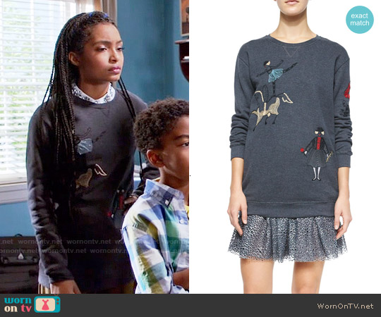 RED Valentino Circus Embroidered Sweatshirt worn by Yara Shahidi on Blackish