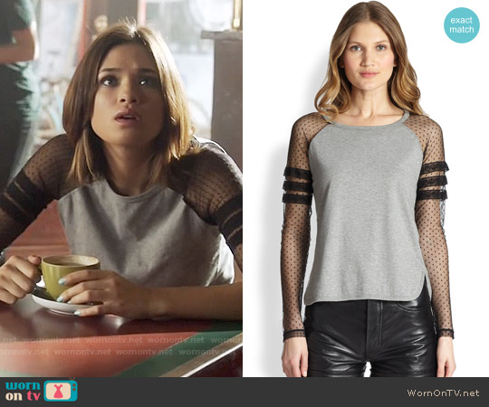RED Valentino Jersey Contrast Baseball Tee worn by Nicole Gale Anderson on Beauty & the Beast