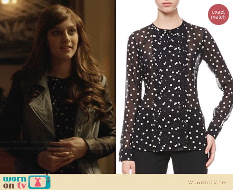 RED Valentino Dotted Pleat Front Blouse worn by Aubrey Peeples on Nashville