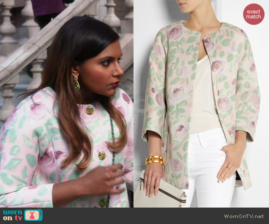 RED Valentino Floral Print Scuba Coat worn by Mindy Kaling on The Mindy Project