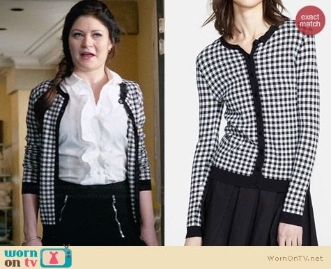 RED Valentino Gingham Cardigan worn by Emilie de Ravin on OUAT