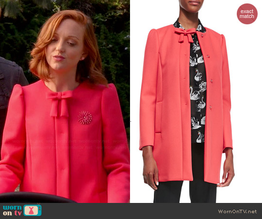 RED Valentino Hidden Placket Scuba Topper with Bow worn by Emma Pillsbury on Glee