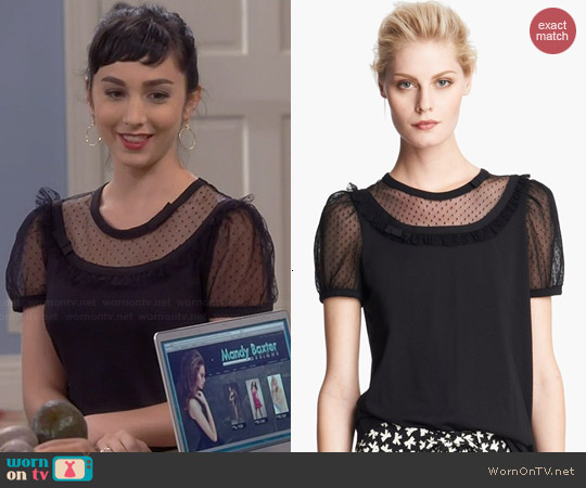 RED Valentino Lace Inset Jersey Tee worn by Molly Ephraim on Last Man Standing