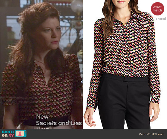 Red Valentino Little Birds Print Blouse worn by Emilie de Ravin on OUAT