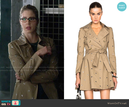 RED Valentino Mackintosh Trench Coat worn by Emily Bett Rickards on The Flash