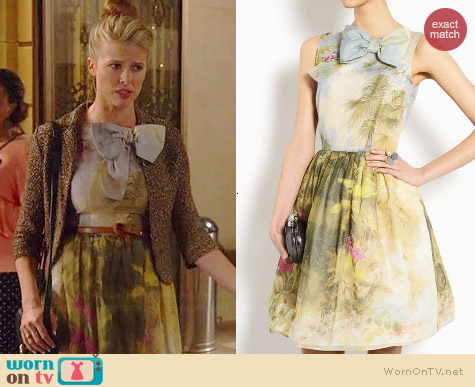 RED Valentino Hand Painted Floral Dress worn by Sarah Wright Olsen on Marry Me