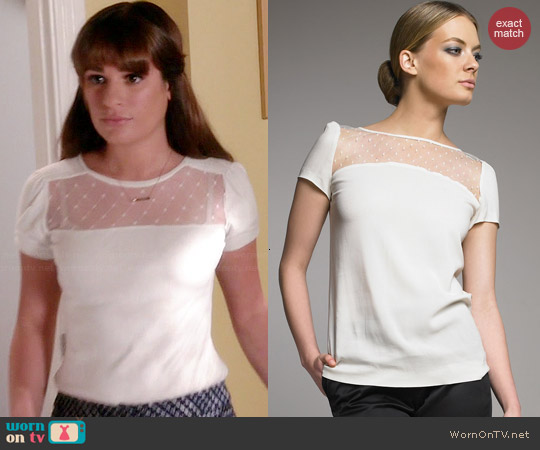 RED Valentino Point-d'Esprit Yoke Blouse worn by Lea Michele on Glee