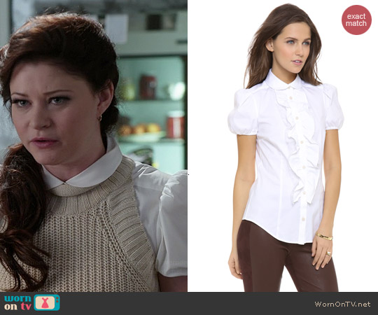 RED Valentino Poplin Short Sleeve Ruffle Blouse worn by Emilie de Ravin on OUAT