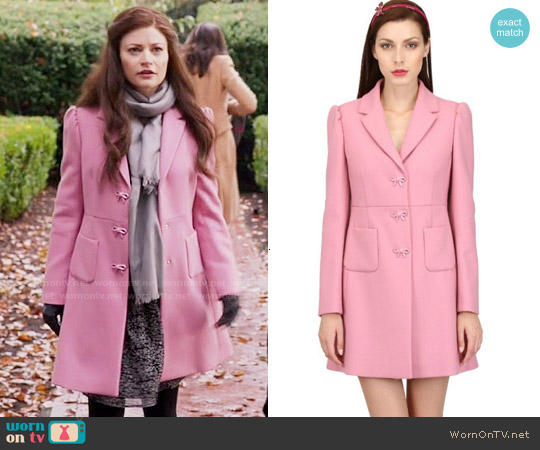 RED Valentino Ribbon Button Wool Coat worn by Emilie de Ravin on OUAT