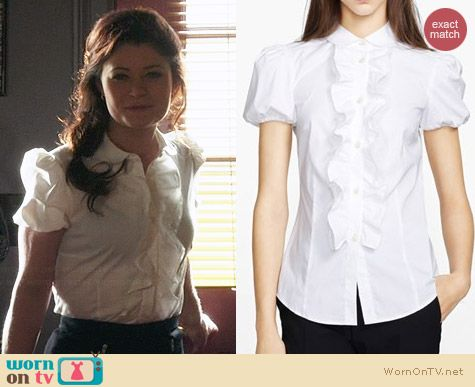 RED Valentino Ruffle front poplin blouse worn by Emilie de Ravin on OUAT