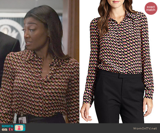 RED Valentino Silk Crepe de Chine Printed Blouse worn by Patina Miller on Madam Secretary