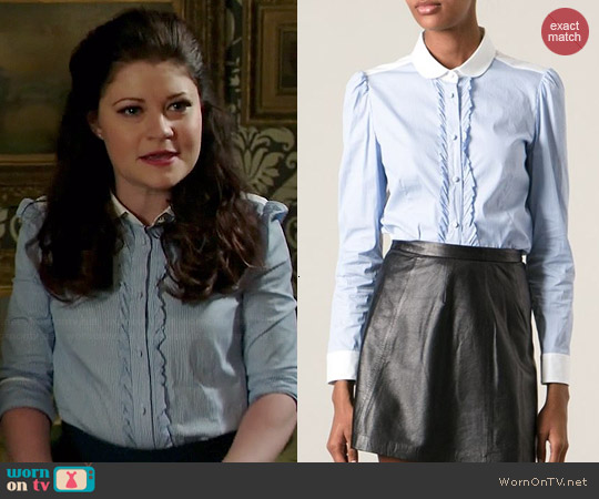 RED Valentino Striped Stretch Poplin Blouse with Ruffles worn by Emilie de Ravin on OUAT