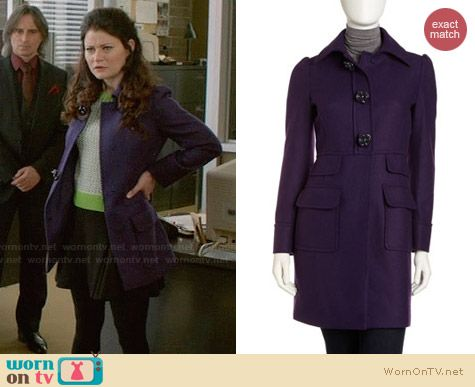 RED Valentino Uva Tweed Coat in Purple worn by Emilie de Ravin on OUAT