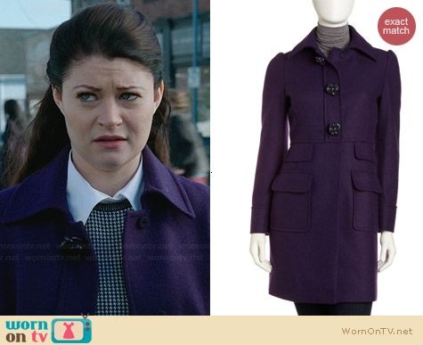 RED Valentino Purple Uva Tweed Coat worn by Emilie de Ravin on OUAT