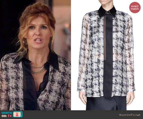 Reed Krakoff Abstract Tweed Print Leather Collar Blouse worn by Connie Britton on Nashville