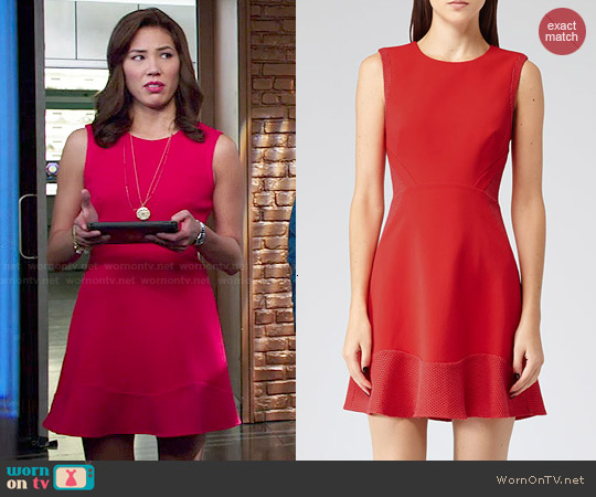 Reiss Toluca Dress in Ruby Red worn by Michaela Conlin on Bones
