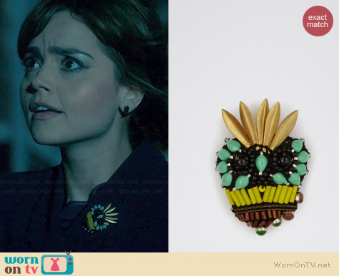 Reiss Vespa Skull Embellished Brooch worn by Jenna Coleman on Doctor Who