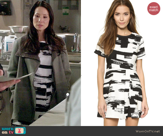 Re:named Side Pleat Dress worn by Lucy Liu on Elementary