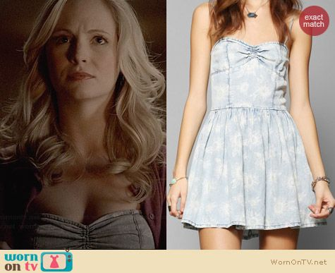 RES Denim Sunflower Sweetheart Dress worn by Candice Accola on The Vampire Diaries