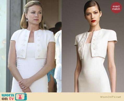 Revenge Fashion: Alexander McQueen Illusion Bolero Dress worn by Emily VanCamp