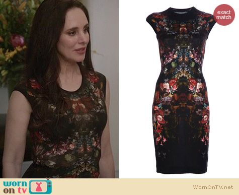 Revenge Fashion: Alexander McQueen tapestry print pencil dress worn by Madeleine Stowe
