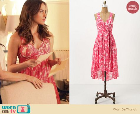 Revenge Fashion: Pink feather dress from Anthropologie worn by Charlotte Grayson