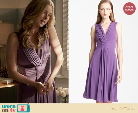 Revenge Fashion: Armani Collezioni Draped Jersey Dress in Grape worn by Emily VanCamp