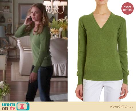 Revenge Fashion: Barneys New York green v-neck sweater worn by Emily VanCamp