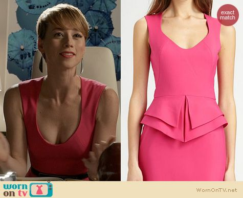 Revenge Fashion: Black Halo Valentina Pink Dress worn by Karine Vanasse