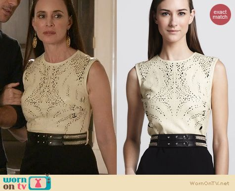 Fashion of Revenge: Catherine Deane Leather top Combo Cocktail Dress worn by Madeleine Stowe
