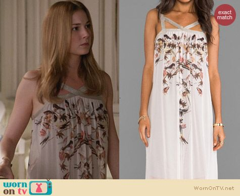Revenge Fashion: Cynthia Vincent Beautiful & Damned Mirrored Bird Maxi Dress worn by Emily VanCamp