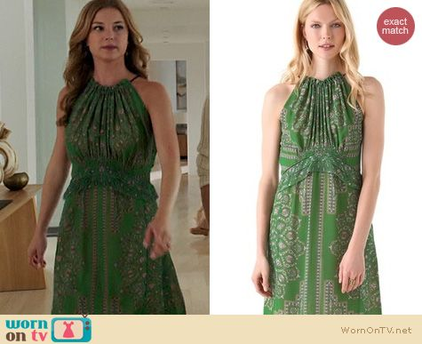 Revenge Fashion: Derek Lam Halter dress in green worn by Emily VanCamp