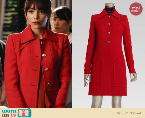 Revenge Fashion: Gucci Patchpocket red coat worn by Ashley Madekwa