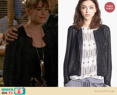 Revenge Fashion: Haute Hippie Beaded Silk Organza Jacket worn by Christa Allen