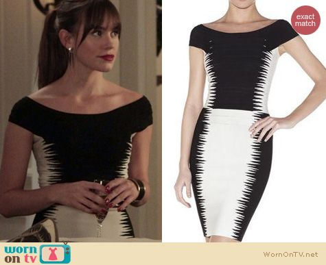 Revenge Fashion: Herve Leger Phoebe Jagged Pike Dress worn by Christa Allen