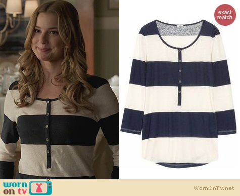 Fashion of Revenge: J. Crew Rugby Striped Henley Top worn by Emily Vancamp