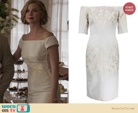Revenge Fashion: J Mendel Jacquard off shoulder dress worn by Emily Thorne