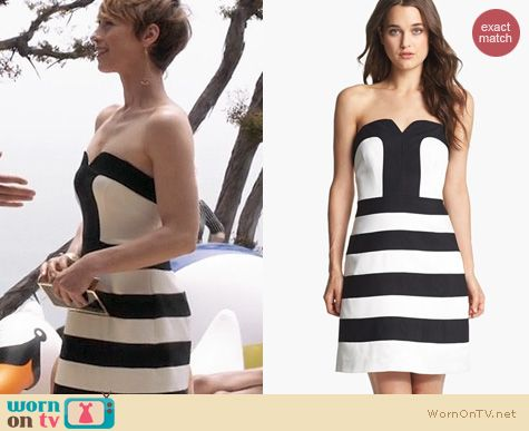Revenge Fashion: Laundry by Shelli Segal Striped Fit and Flare dress worn by Karine Vanasse