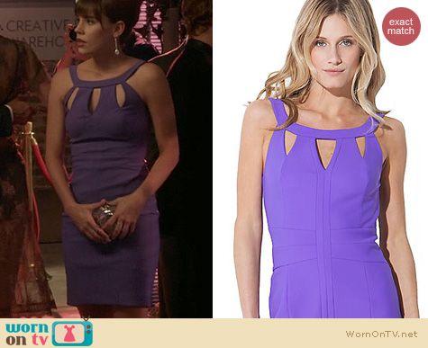 Revenge Fashion: Laundry by Shelli Segal Purple Cutout Dress worn by Christa Allen