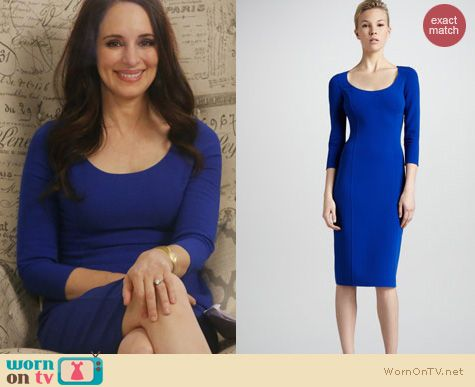 Wornontv Victoria S Cobalt Blue 3 4 Sleeve Dress On Revenge Madeleine Stowe Clothes And