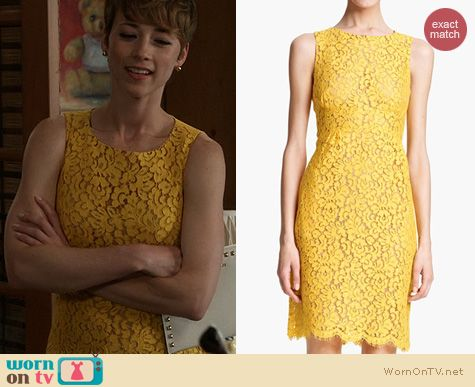 Revenge Fashion: Michael Kors Floral Lace Dress in Sunshine worn by Karine Vanasse