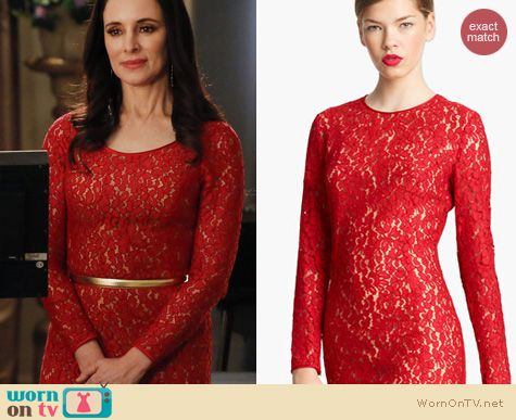 Revenge Fashion: Michael Kors red lace dress worn by Madeleine Stowe