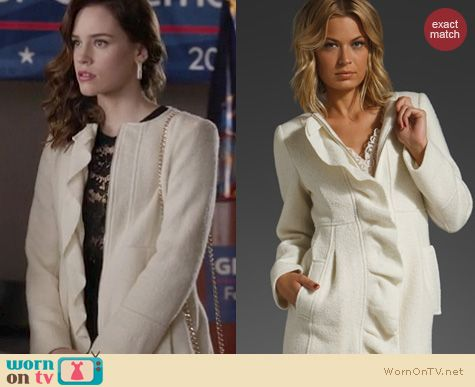 Revenge Fashion: Nanette Lepore Napa Valley Coat worn by Christa Allen