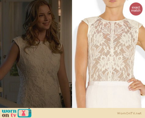 Fashion of Revenge: Nina Ricci Embroidered Floral Lace top worn by Emily VanCamp