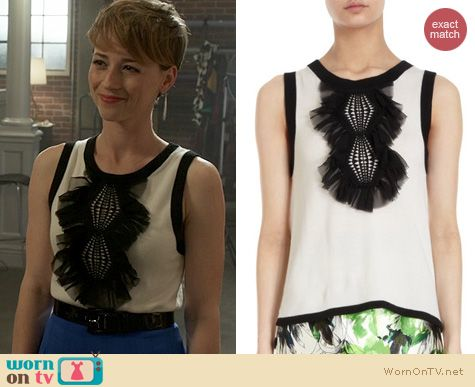 Fashion of Revenge: Prabal Gurung Ruffle Front Top worn by Karine Vanasse