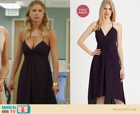 Revenge Fashion: Rebecca Taylor black open back dress worn by Emily VanCamp