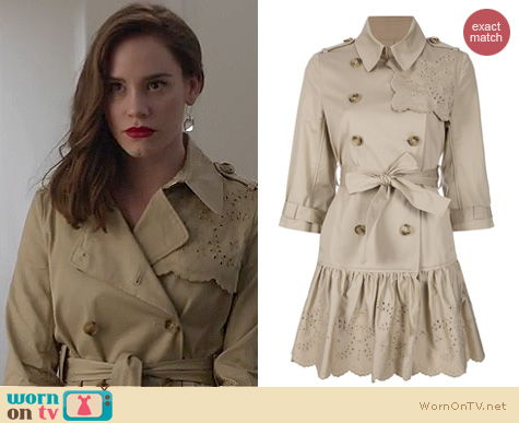 Revenge Fashion: RED Valentino embroidered trench coat worn by Christa Allen